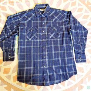 Long sleeve Western Shirt // Pearl Snaps // Large